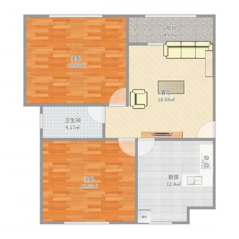 浦江东旭公寓2室1厅1卫1厨94.00㎡户型图