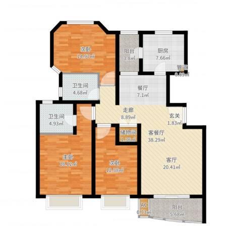 万邦都市花园3室2厅2卫1厨141.00㎡户型图