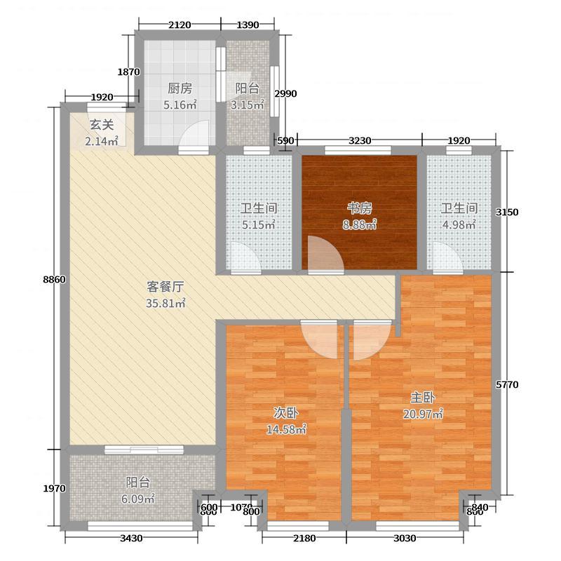 金科・天籁城130.00㎡5号楼南北向C2户型3室3厅2卫1厨