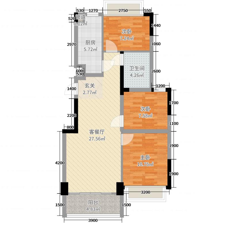 力迅城筑91.00㎡南区11号6-16偶数层02单元户型3室3厅1卫1厨