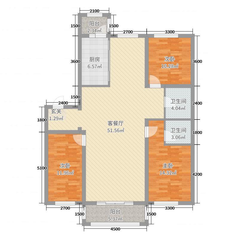 海富臻园153.55㎡T户型3室3厅2卫1厨