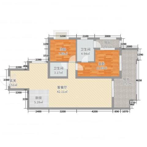 海棠湾・陶然湾2室2厅2卫0厨86.00㎡户型图