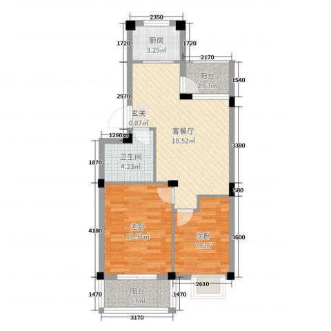 翡翠城2室2厅1卫1厨65.00㎡户型图