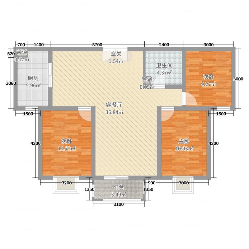 盛世佳苑125.50㎡G户型3室3厅2卫1厨