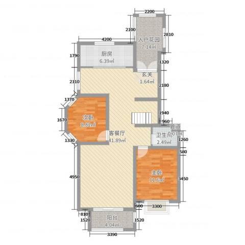 沈阳月星国际城2室2厅1卫1厨105.00㎡户型图