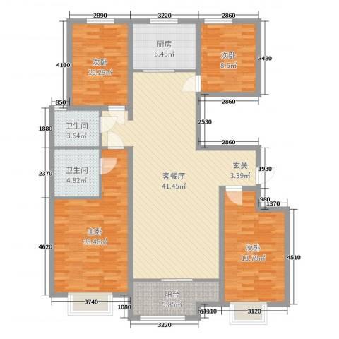 民生凤凰城4室2厅2卫1厨142.00㎡户型图
