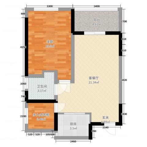 TCL康城四季1室2厅1卫1厨69.00㎡户型图