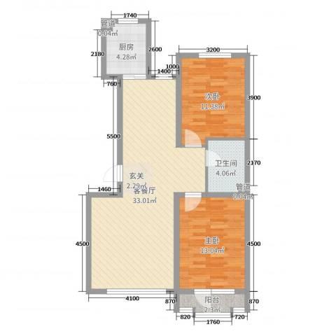 金色雅居2室2厅1卫1厨87.00㎡户型图