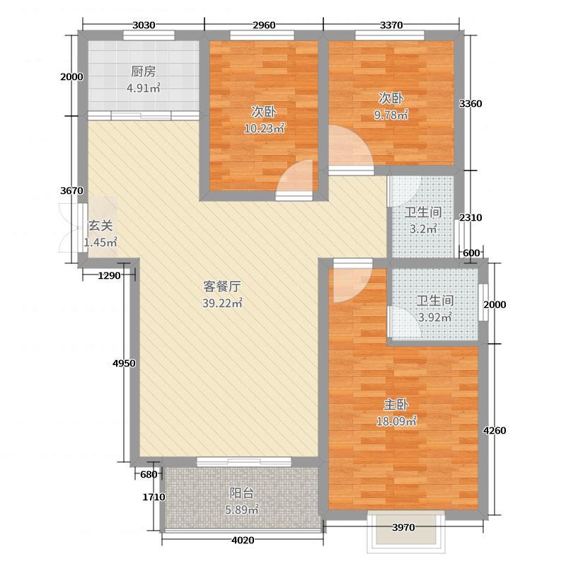 爱丁堡118.35㎡A户型3室3厅2卫1厨