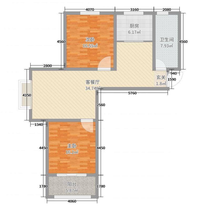 金鼎华郡109.20㎡7#楼标准层D1户型2室2厅1卫1厨