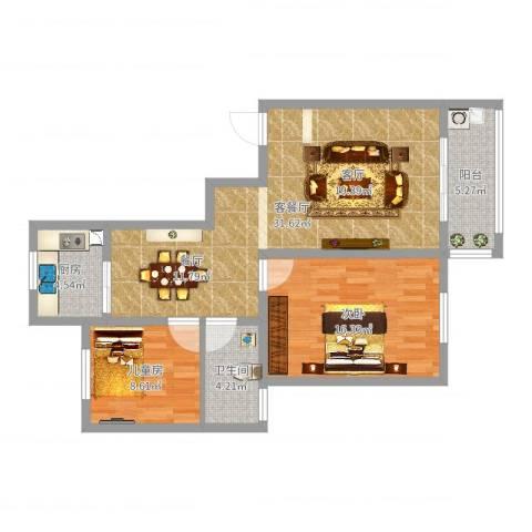 玉湖新城花园2室2厅1卫1厨88.00㎡户型图