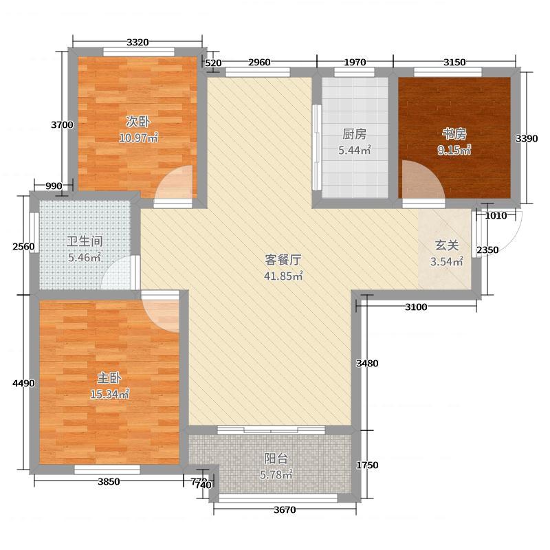 金鼎华郡118.46㎡8#、13#楼标准层A户型3室3厅1卫1厨