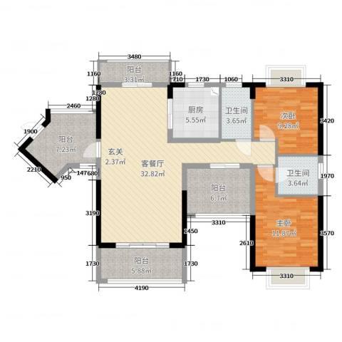 丽冠雅居2室2厅2卫1厨112.00㎡户型图