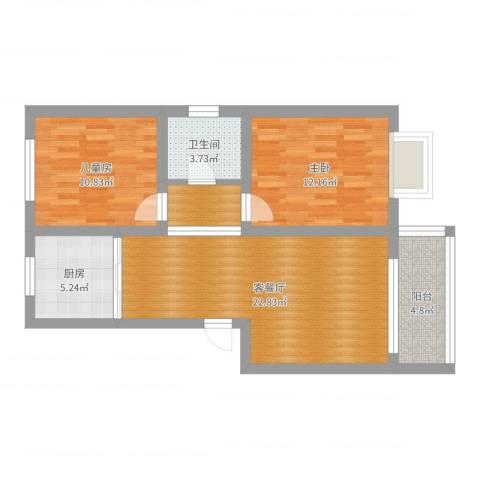 景湾小区2室2厅1卫1厨78.00㎡户型图