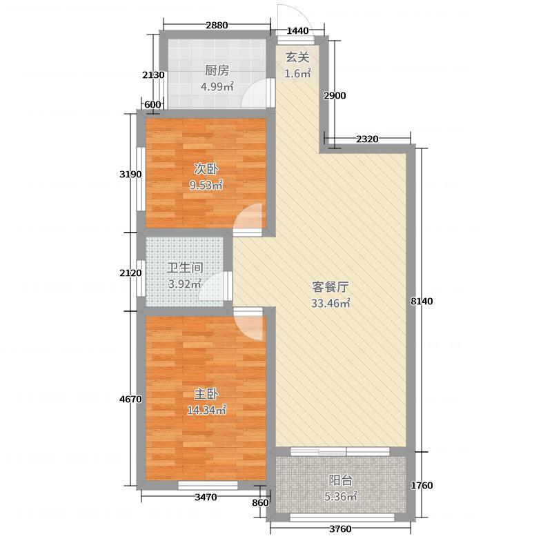 阳光香榭89.58㎡1/2号楼A户型2室2厅1卫1厨