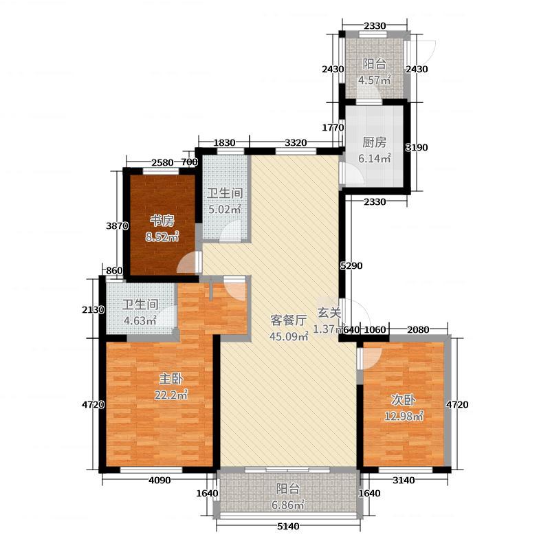 华明星海湾144.90㎡三期17#、19#楼C4户型3室3厅2卫1厨