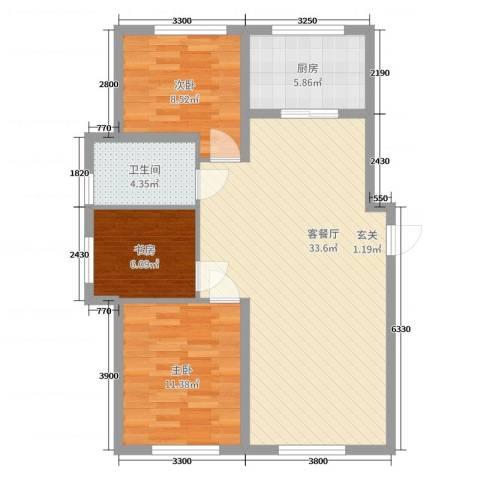 自由向3室2厅1卫1厨98.00㎡户型图