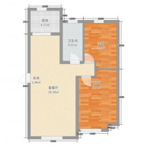 自由向2室2厅1卫1厨85.00㎡户型图