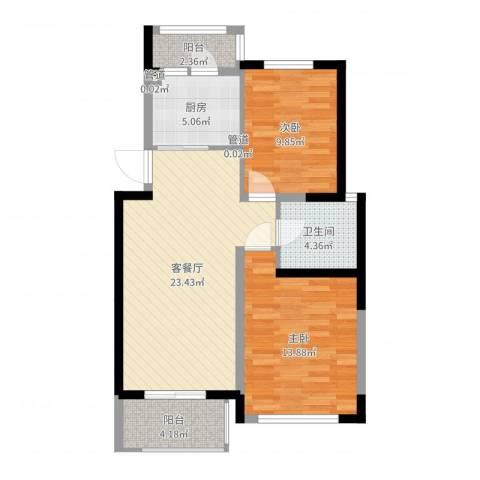 加州洋房2室2厅1卫1厨79.00㎡户型图