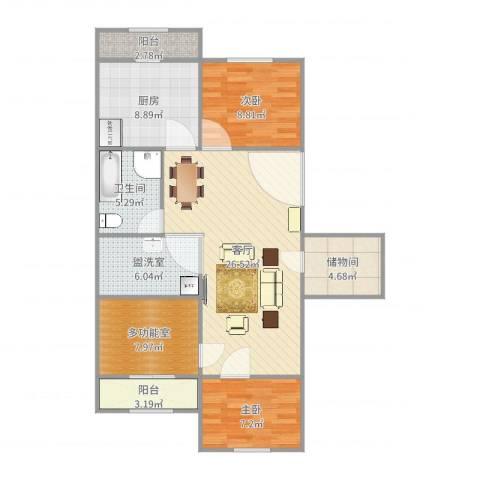 青松北里2室3厅1卫1厨102.00㎡户型图
