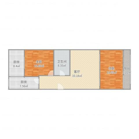 双兴南区2室1厅1卫2厨122.00㎡户型图