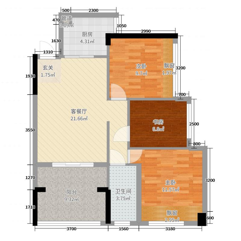 龙光・水悦龙湾84.00㎡二期3座03单元户型3室3厅1卫1厨