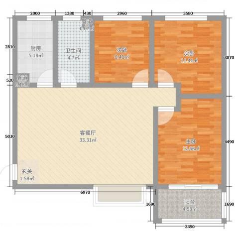 佳龙・大沃城3室2厅1卫1厨111.00㎡户型图