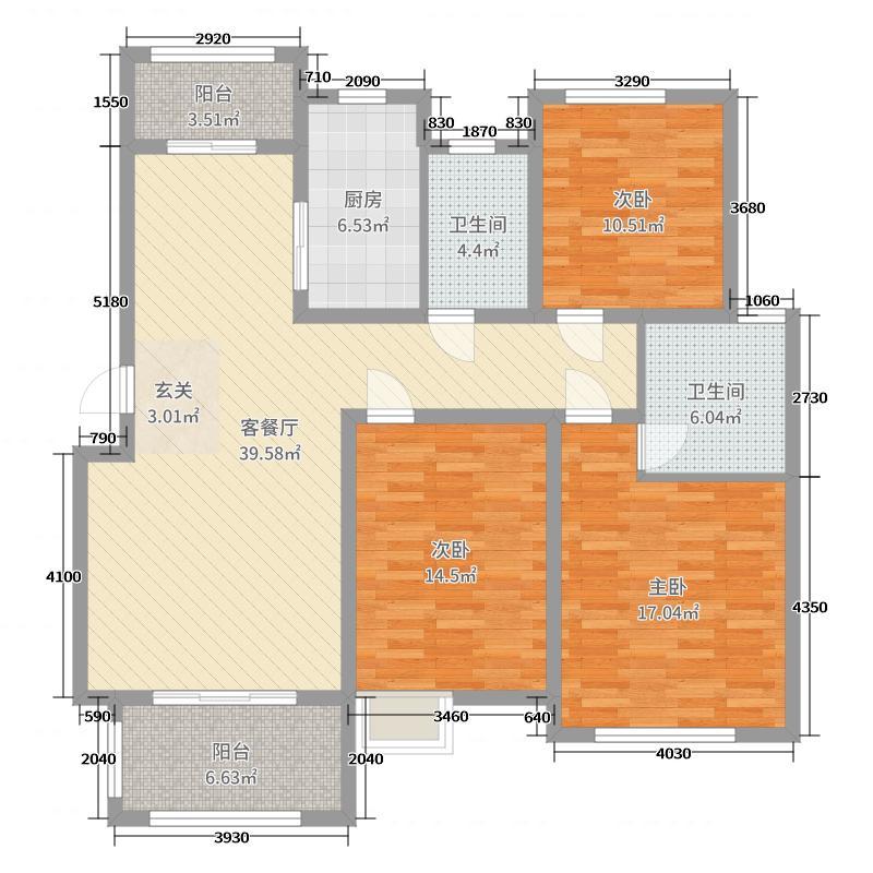 平度江山帝景136.00㎡27、28#楼E2户型3室3厅2卫1厨