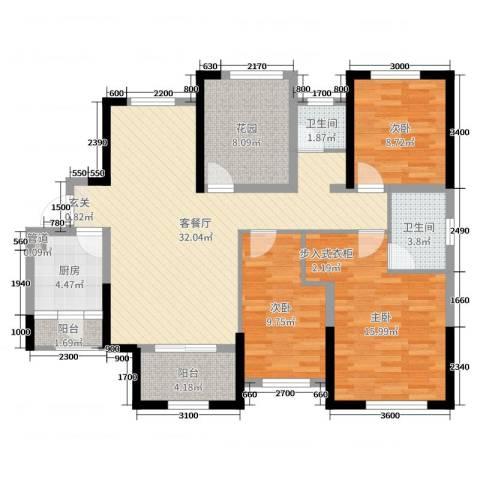 旭辉香樟公馆3室2厅2卫1厨119.00㎡户型图