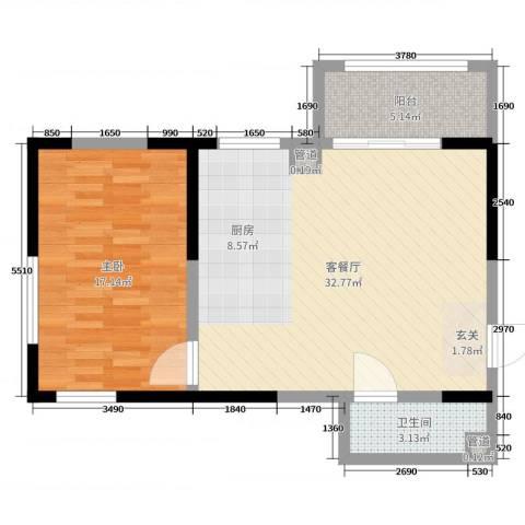 学府尚居1室2厅1卫0厨73.00㎡户型图