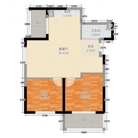 学府尚居2室2厅1卫0厨91.00㎡户型图