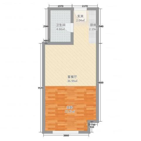 哈尔滨万达城2厅1卫0厨50.00㎡户型图