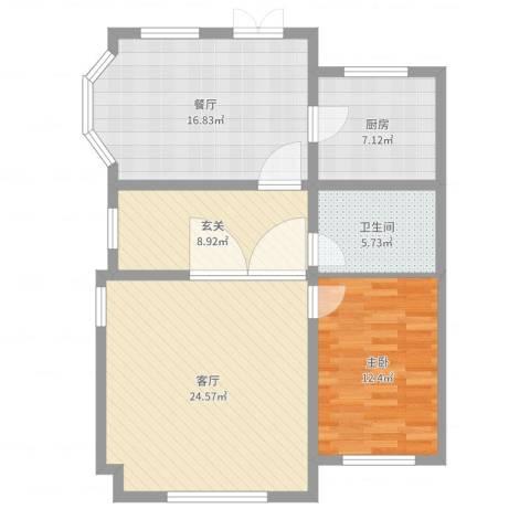 天津-新华联世家37-011楼1室2厅1卫1厨94.00㎡户型图