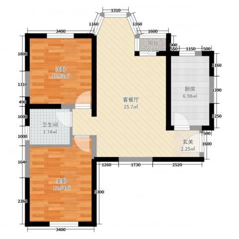 珠江新城二期2室2厅1卫1厨88.00㎡户型图