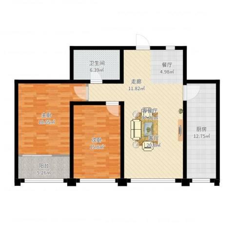 东方明珠广场2室2厅1卫1厨120.00㎡户型图