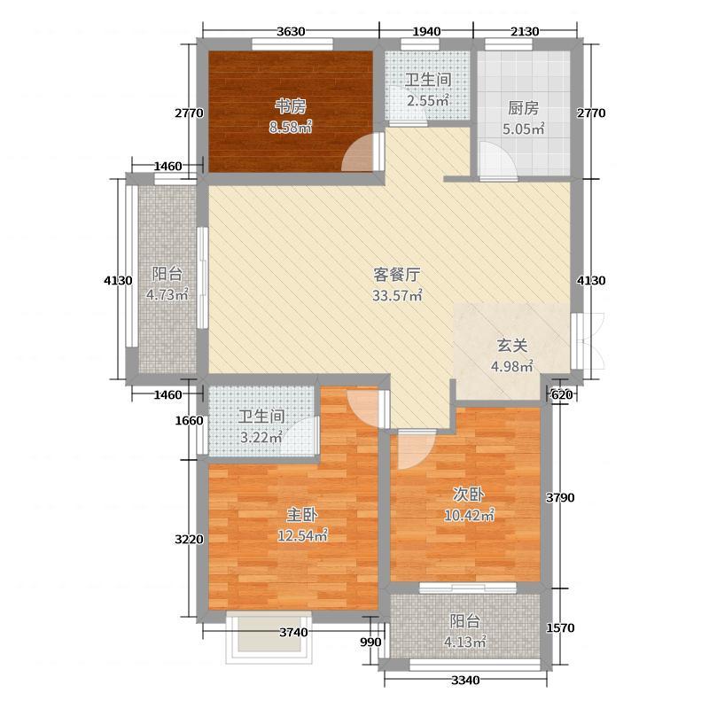 汇泉西悦城106.00㎡二期B3户型3室3厅2卫1厨