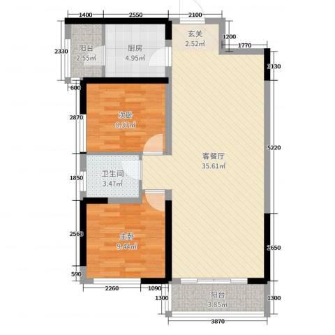 珠江新城二期2室2厅1卫1厨92.00㎡户型图