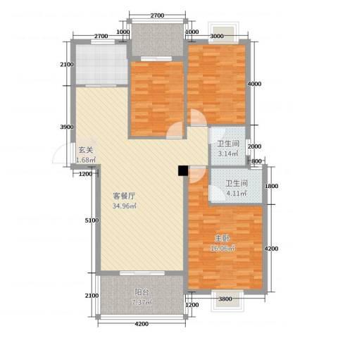 中博富贵世家1室2厅2卫0厨130.00㎡户型图