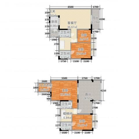 金田花园花域4室2厅4卫1厨162.00㎡户型图