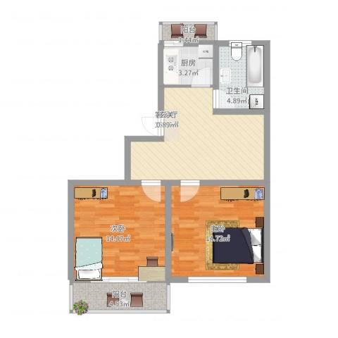 宏基花园2室2厅1卫1厨86.00㎡户型图