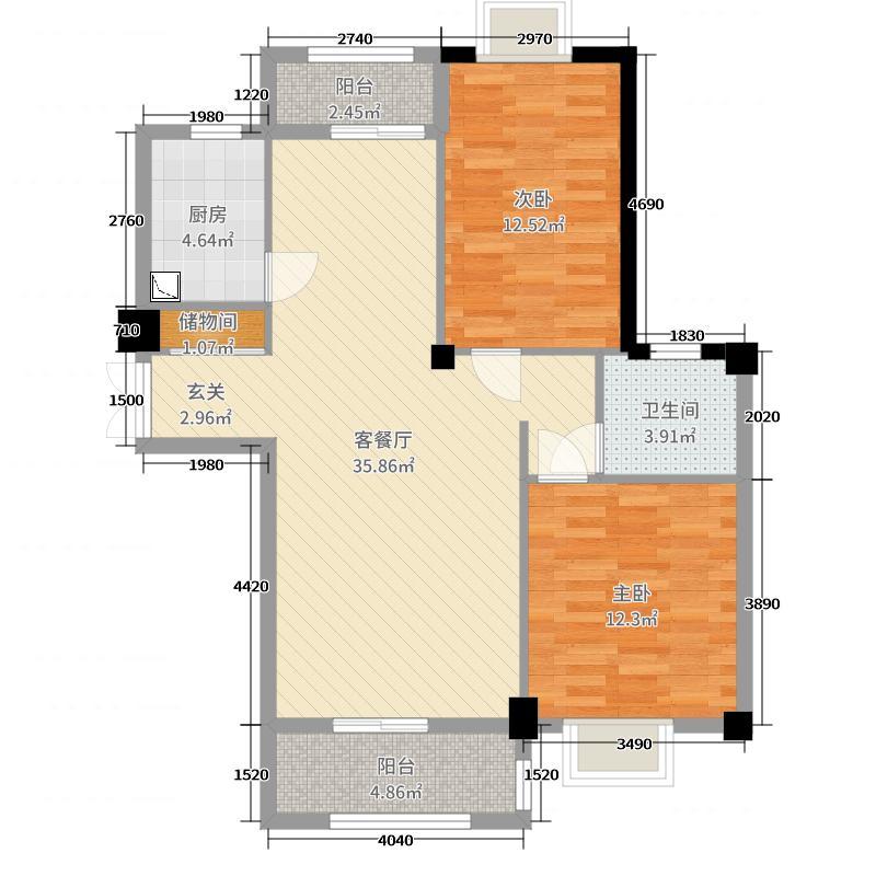 新新罗马家园97.40㎡户型2室2厅1卫1厨
