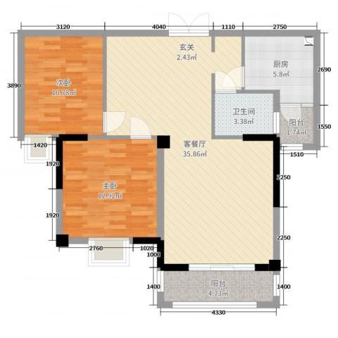 新新罗马家园2室2厅1卫1厨94.00㎡户型图