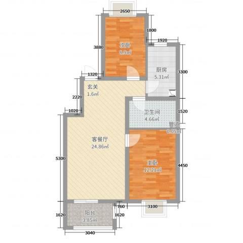 夏威夷南岸二期2室2厅1卫1厨90.00㎡户型图