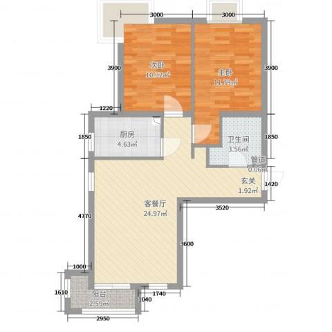 夏威夷南岸二期2室2厅1卫1厨88.00㎡户型图