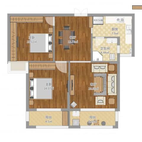 锦天-生态城2室2厅1卫1厨101.00㎡户型图