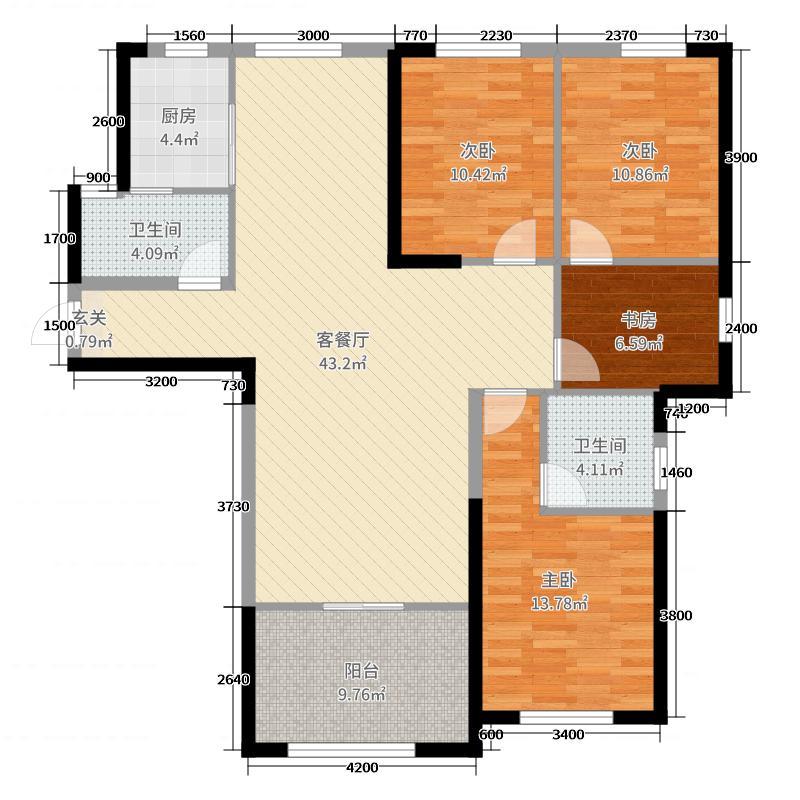 佳水豪庭142.00㎡二期A2户型4室4厅2卫1厨
