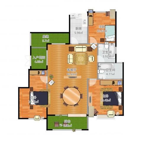 富兴御园3室2厅2卫1厨150.00㎡户型图