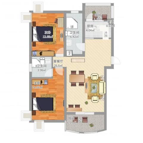 元一时代花园2室2厅2卫1厨111.00㎡户型图