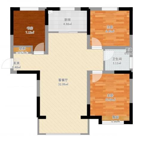 宝境檀香3室2厅1卫1厨84.00㎡户型图