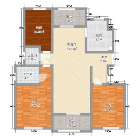 御园3室2厅2卫1厨136.00㎡户型图